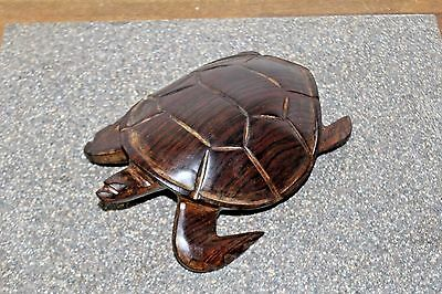 "Vtg Hand Carved Solid Ironwood ""Sea Turtle"" Sonoran Folk Art Sculpture"