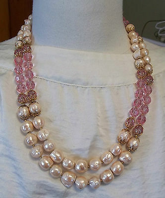 Vintage Vendome Double Strand Necklace Pink Glass Beads & Faux Baroque Pearls