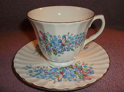 Staffordshire England Fine Bone China Tea Cup & Saucer Blue Flowers Pink Ribbons