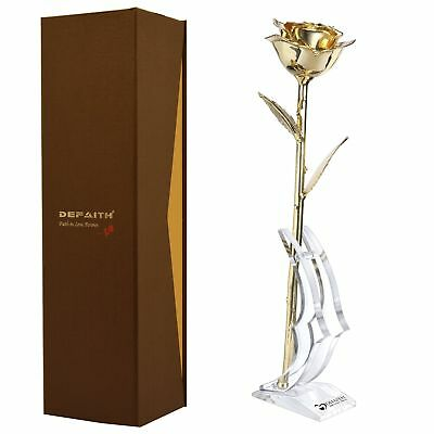 Gold Everlasting Rose DEFAITH 24K Gold Dipped Long Stem Real Rose with Moon-S...