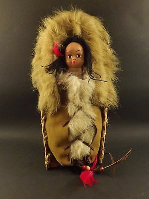 Vintage ~ Native American Plains Doll ~ Tot In A Cradleboard / Papoose