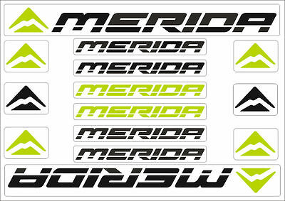 merida bicycle frame decals stickers graphic adhesive set vinyl black green 3