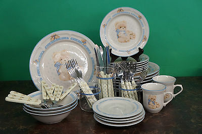Vintage Tienshan Teddy Bear Stoneware Lot 54 Pieces Dinnerware Glasses & Cutlery