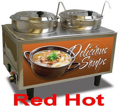 New Commercial Double 7 QT Soup Food Warmer Station by Benchmark 51072-S