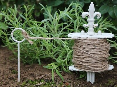 Vintage Style Garden Line with String, Antique White Distressed Finish