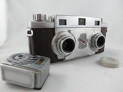 Revere Stereo 33 camera 3D pictures, leather cases, light meter