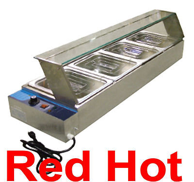 Omcan 42157 Commercial 4 Well Bain Marie Buffet Line Food Warmer BSB-4