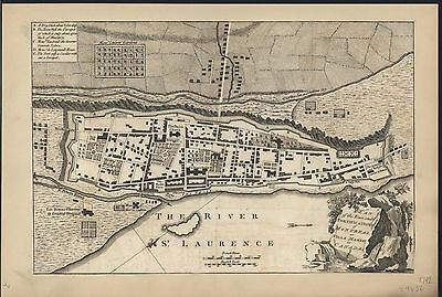 Montreal Canada rare antique city plan 1759 St. Lawrence decorative old map