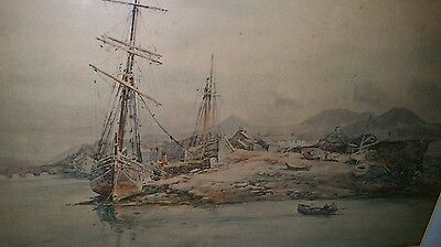 Charles W Adderton Antique 19thc Print of Ships port Madoc some foxing