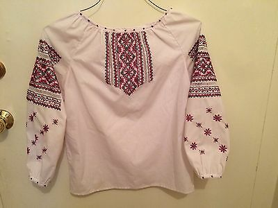 Ukrainian Vyshyvanka hand embroidered women's shirt ethnic blouse sorochka S M