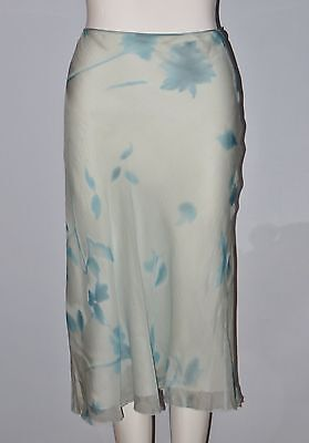 TAHARI Size 12 Blue Floral 100% Silk Fully Lined A-Line Skirt