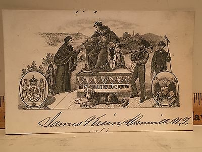 1881 Advertising Trade Card Germania Life Insurance Co Krein Dansville NY