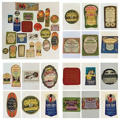 Antique French Unused Perfume & Bottle Label - Lot of 23 - France & USA - RARE!!