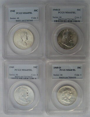Complete Set Franklin Half Dollars Pcgs Ms64 Fbl Full Bell Lines 35 White Coins!
