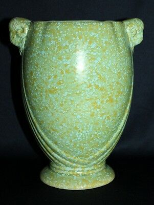 Vintage Art Deco Crown Devon Speckle Glazed Rams Head Handled Ceramic Vase