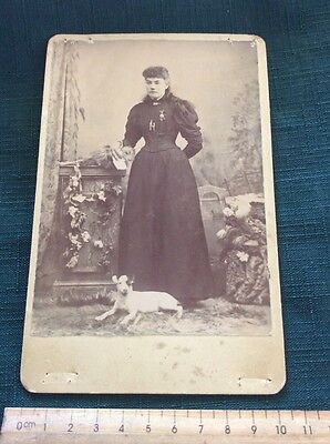 Antique Large Cabinet Photo Card Lady With A Dog
