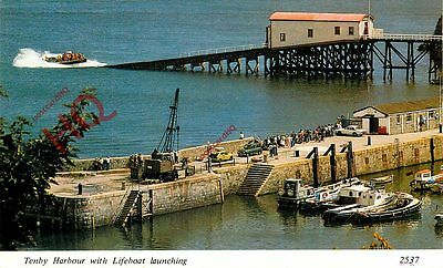Postcard: TENBY HARBOUR WITH LIFEBOAT LAUNCHING
