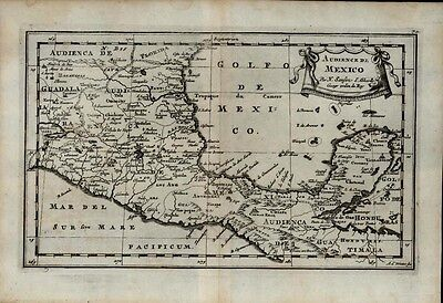 Central America Gulf of Mexico Yucatan Pacific 1699 Sanson scarce antique map