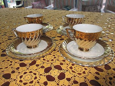 "Vintage Gold Cup, Saucer ,Plate Trios ,set of 4 sets"" Classic  Fine China Aust"""