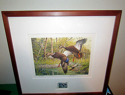 Artist Signed Duck Picture With 1988 Vermont Stamp