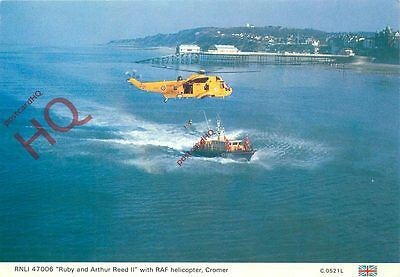Postcard: RNLI 47006 'RUBY AND ARTHUR REED II', WIT HRAF HELICOPTER, CROMER