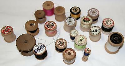 Collectible Group Of 20 Assorted Wooden Cotton Reels Old Style