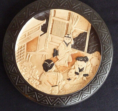 Large BRETBY Vintage c1900 Oriental Style Stoneware Decorative Plate / Charger