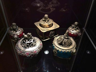Antique Large Collection Of Chinese Tibetan Silver Incense Burners