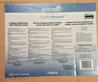 Butchers!light Speed.urethane Fortified Ultra High Solids Floor Finish.5Gal Box