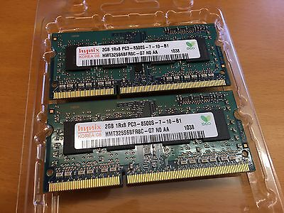 2x2GB (=4GB) 1Rx8 PC3-8500S-7-10-B1 Hynix DDR3 Laptop RAM