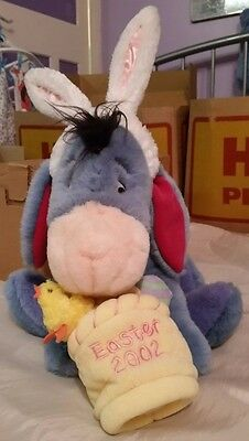 Disney Eeyore Easter soft teddy with bunny ears and basket with chick and eggs