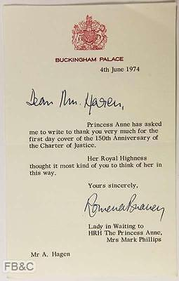 1974 Letter From Buckingham Palace - Princess Anne