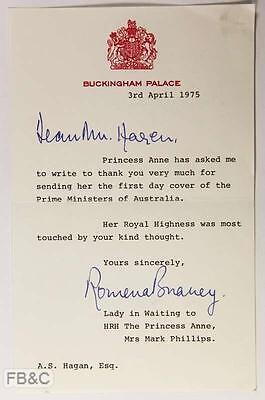 April 1975 Letter From Buckingham Palace - Princess Anne