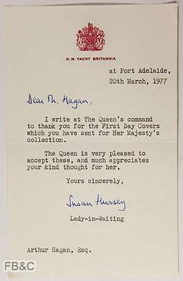 1977 Letter From HM Yacht Britannia at Port Adelaide - At the Queens Command