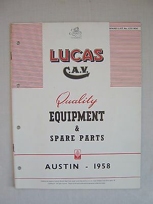 1958 Austin Lucas Equipment & Spare Parts Manual Cars & Commercial Vehicles