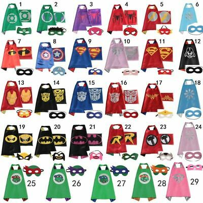 Kids Superhero Super Hero Cape & Mask Set Party Costume Boys Girls