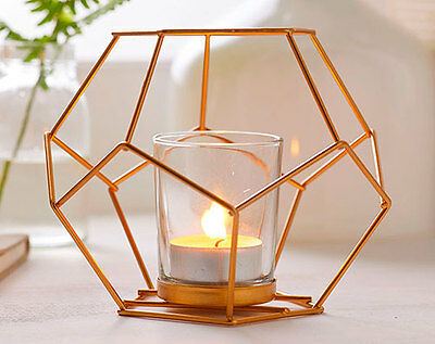 candle copper holder light tea lantern holders geometric metal glass tealight