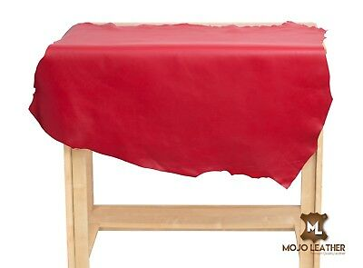 Leather Hide Skin Cherry RED , Premium Leather, Grade AA, 4-6 SqFt 100% Genuine