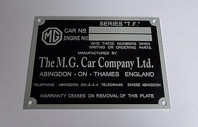 Plaque constructeur MG TF - vin plate MG TF - MG TF data plate - MG typenschild