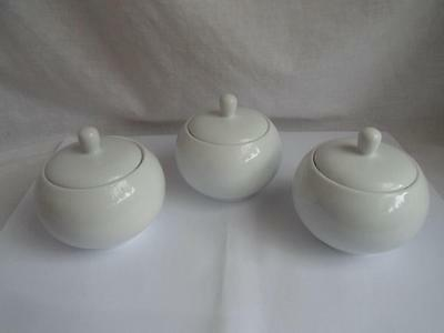 Dining Collection Restaurant /Cafe Catering White lidded Sugar bowl x 3