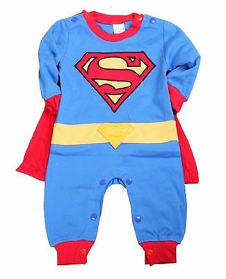 New Baby Boy Superman Romper Superhero costume outfit warm long sleeve sleepsuit