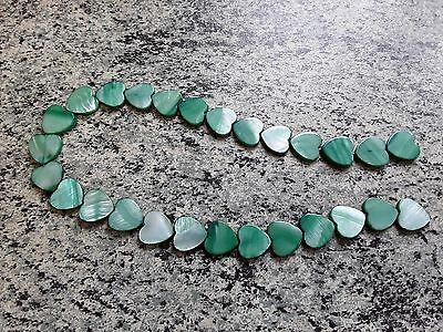 """15"""" strand Green mother of pearl heart beads 10mm"""
