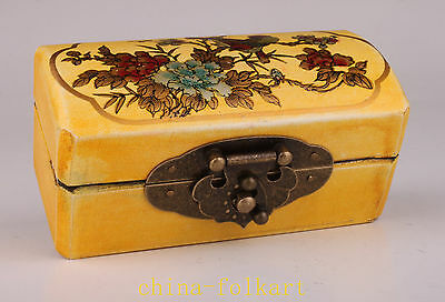 Yellow Leather Painting Flowers Jewelry Ornament Gift Box Vintage Collectable
