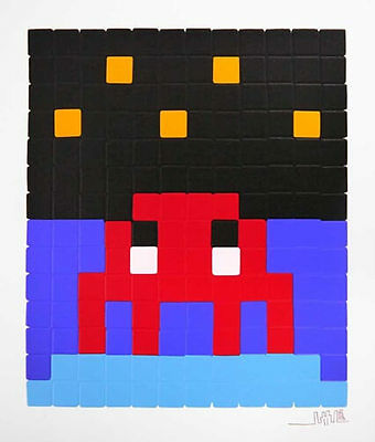 Invader - Red Space One  - space invader limited edition print long sold out