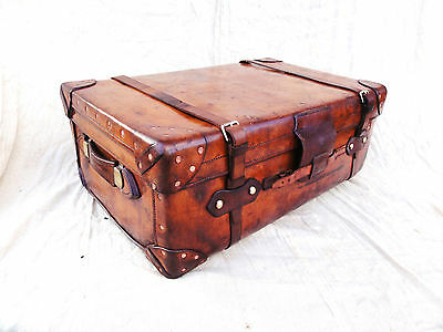 A Great Vintage Leather Tan Trunk by Boswell Edinburgh