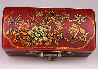Vintage Peony Red Leather Gifts Decorative Jewelry Box  Decoration