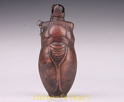 Insect Cicada Copper Statue Snuff Bottle Old Collection Gift Vintage