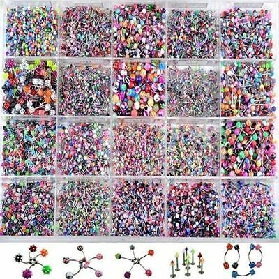 Lots 105PCS Mixed Body Jewelry Piercing Eyebrow Navel Belly Tongue Lip Bar Ring