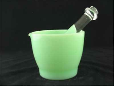 Jadeite and Clear Glass Mortar and Pestle