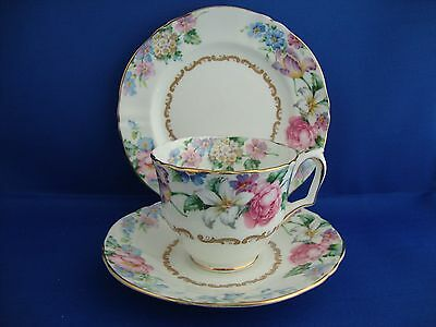 Quality Crown Staffordshire Vintage Brendon Floral Trio English Bone China